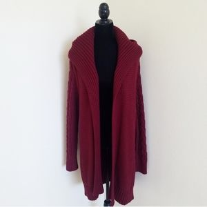 Honey Punch burgundy red cable knit cardigan